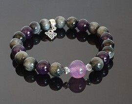 >agle Eye Quartz, Amethyst with Purple Striped Focal and Triquetra Charm