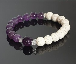 Lava Rock (White) and  Amethyst Diffuser Bracelet