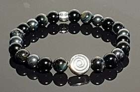 Blue Tiger Eye, Onyx and Hematite with S/S Focal Charm