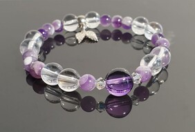 Clear Quartz and Amethyst with S/S Angel Wings
