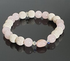Lava Rock (White) and Rose Quartz and Kunzite Focal Stone